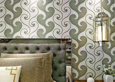 carta da parati bianca e verde strutturata della carta da parati del velluto di 0.53*10m, del velluto per la decorazione domestica