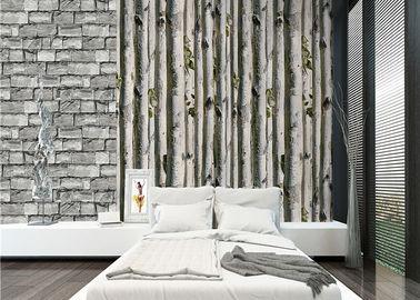 Carta da parati della casa 3d dell'albero di betulla grigia/nessun isolamento termico tossico della carta da parati del salone