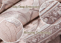 Embossed Light Pink Living Room Wallpaper with Washable Vinyl Material , CE ISO Listed