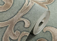 Waterproof PVC Green Damask Victorian Pattern Wallpaper With Non Woven Materials