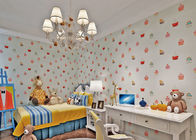 White Embossed Non Woven Kids Bedroom Wallpaper Cake Pattern Fireproof
