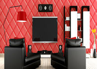 Diamond Pattern High Imitation Leather Wallpaper , Modern Room Wallpaper  PVC Material