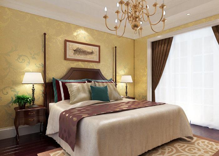 Carta da parati floreale della camera da letto del paese del modello della stagnola di oro - Carta da parati classica per camera da letto ...
