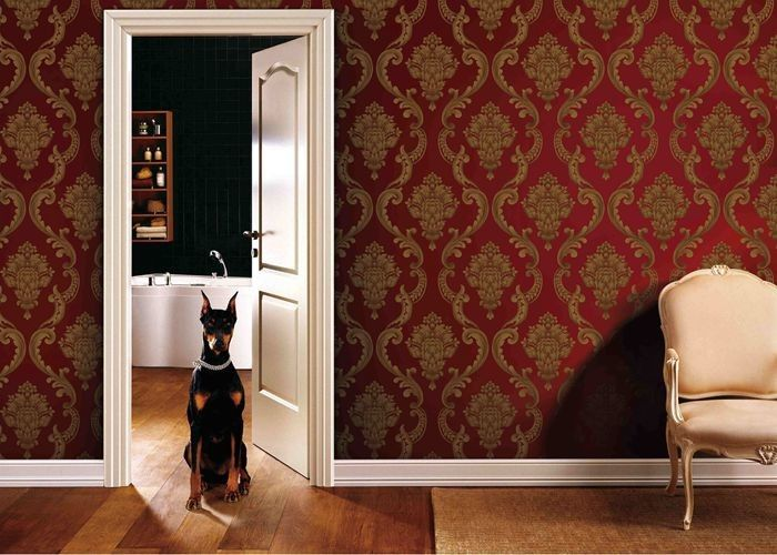 0.53*10M Living Room PVC Removable Wall Coverings With Red And Gold Color , ISO SGS