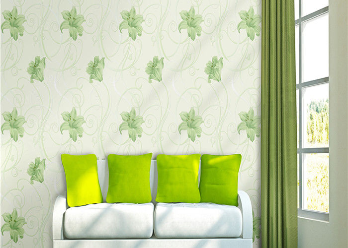 Lily Printing 0.53*10M Custom Country Style Wallpaper With Embossed Surface Treatment