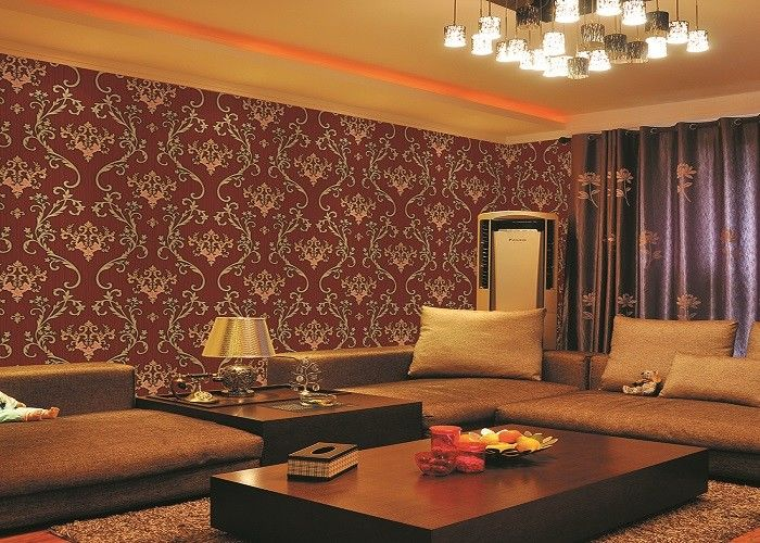 Brick Red Non-Pasted Vinyl Coated Paper Contemporary Wall Wallpaper For Administration