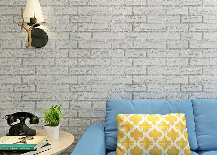 Greyish White Color Brick Printing Self Adhesive Wallpaper Modern Style For Living Room