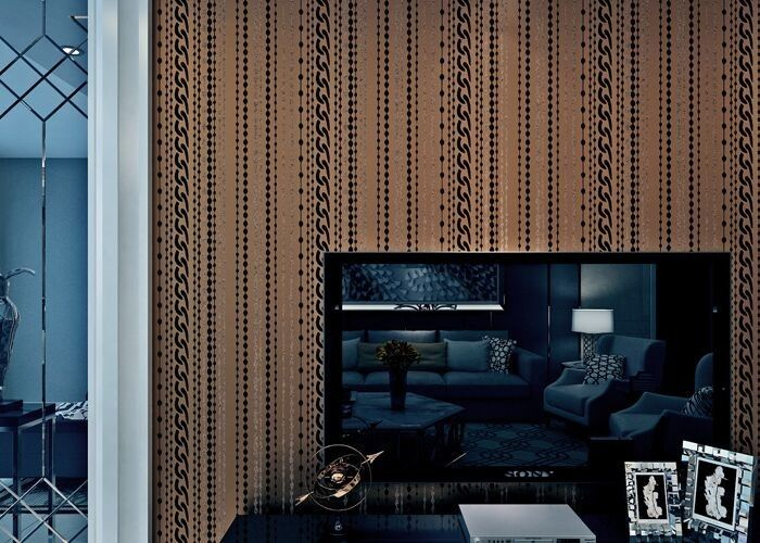 Brown Sound Absorbing Contemporary Wall Paper with Stripes Pattern , Flocking Surface Treatment