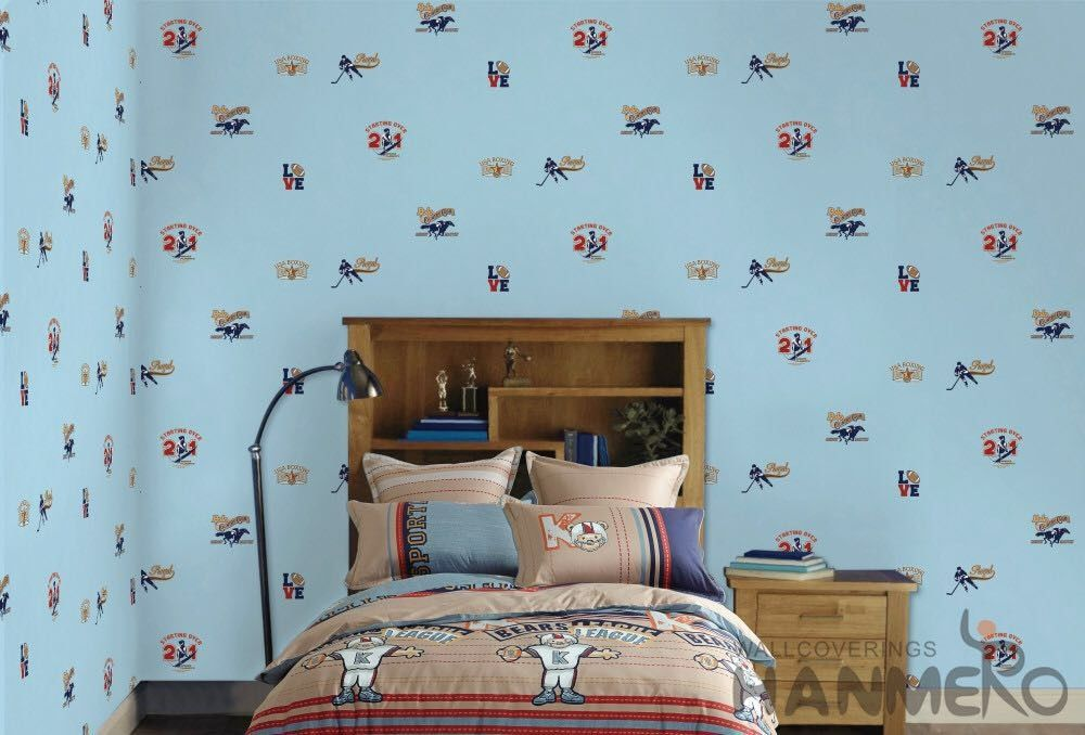 Blue Color Kids Bedroom Wallpaper English Letters Design Breathable Non Toxic