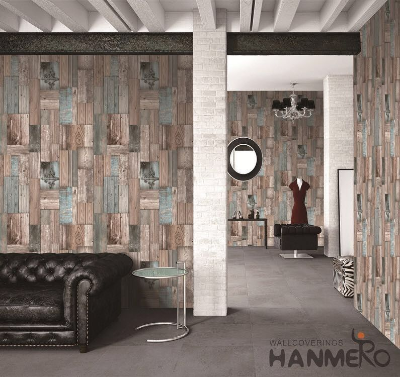3D Wood Design Kitchen Bathroom Wallpaper , Durable PVC Wallcovering
